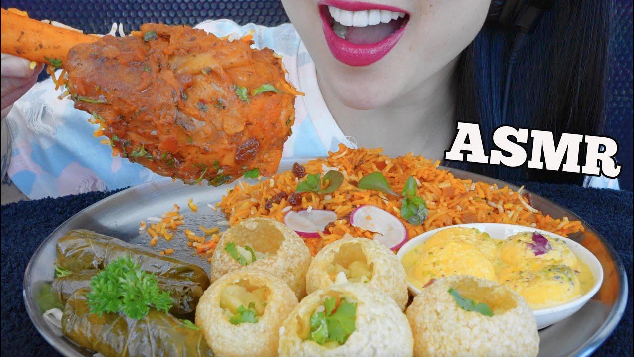 ASMR EATING LAMB SHANK BIRYANI + PANI PURI + VINE LEAVES (EATING SOUNDS) NO TALKING | SAS-ASMR