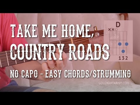 Country Roads Guitar Tutorial - Easy Chords & Strumming AND Fingerstyle Version | No Capo