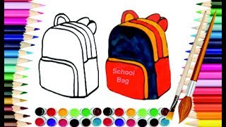 How to Draw School Bag for Kids & School Children |  Art Colors with Markers and Brush