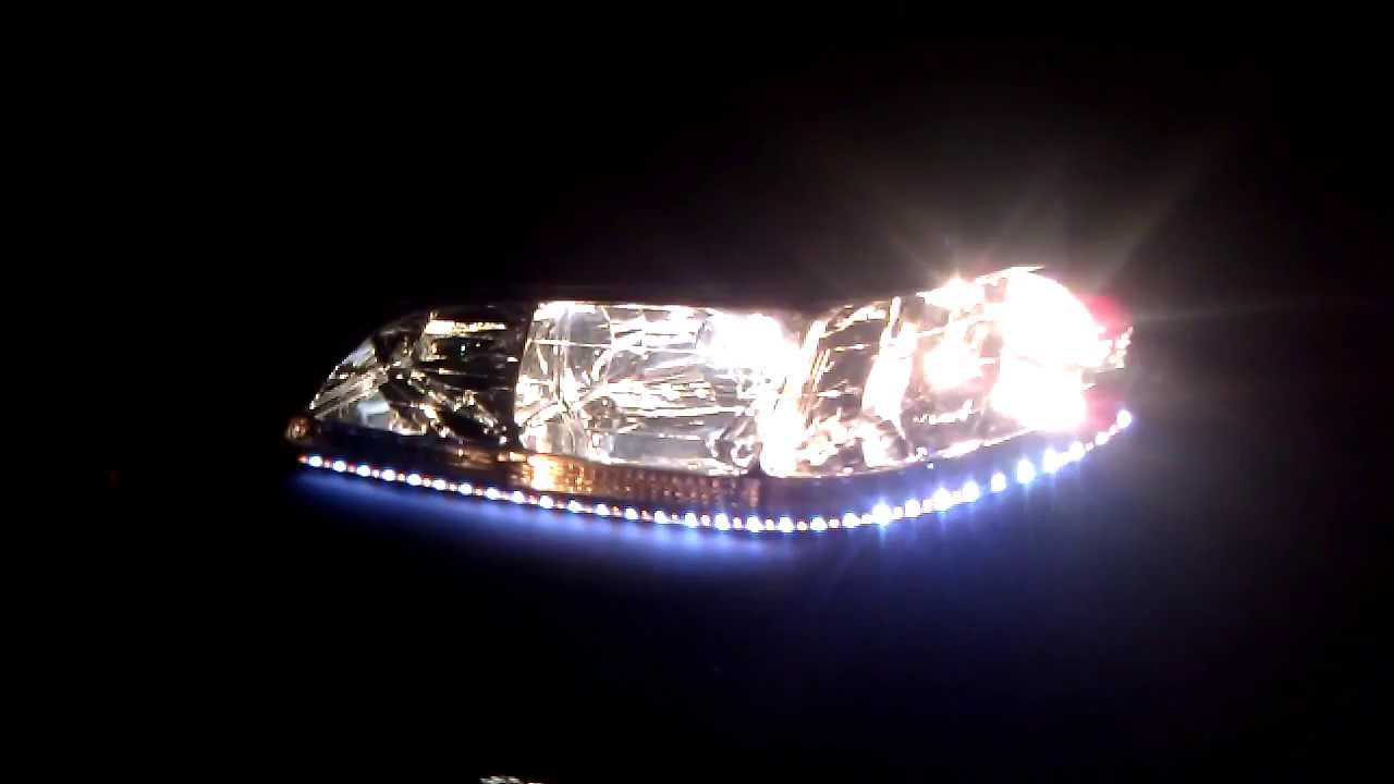 led strips  headlights  honda accord coupe youtube