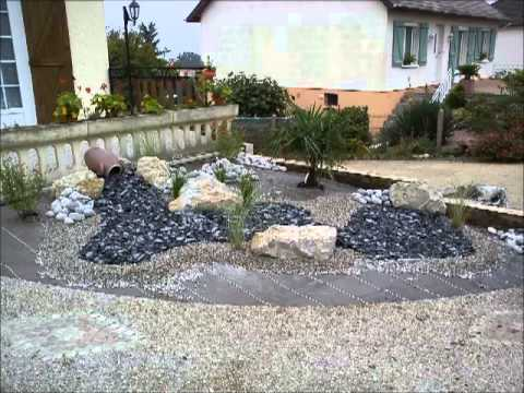 Massif plantation minerale youtube - Creation d un parterre avec galets ...