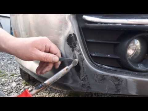 How to repair a cracked plastic bumper