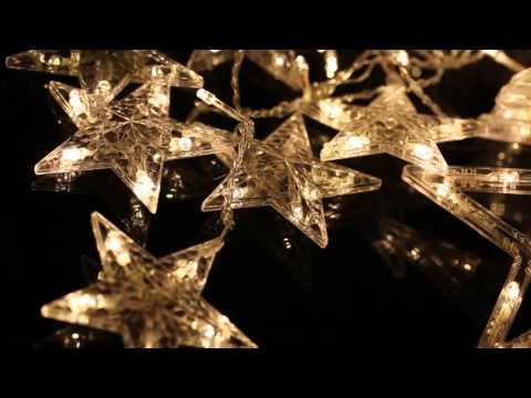 EXCELVAN WARM WHITE STAR CURTAIN LIGHT FLASHING