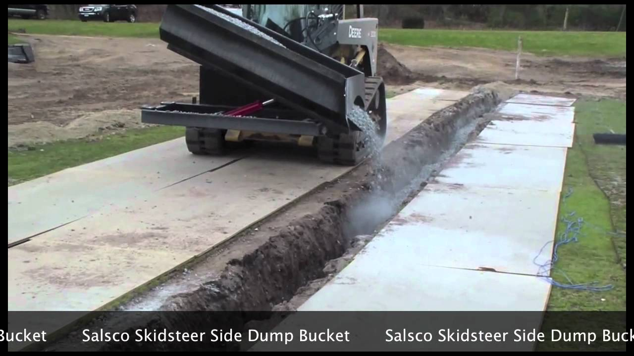 Salsco Skidsteer Side Dump Bucket Youtube