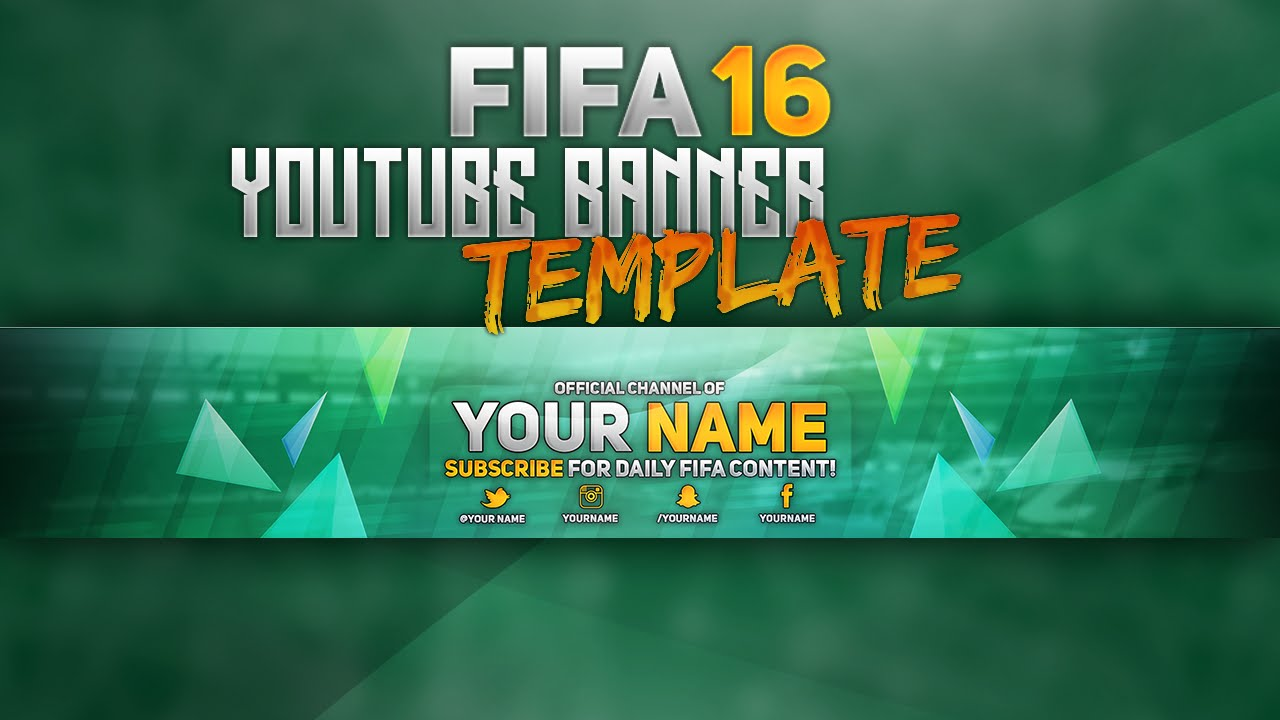 free fifa16 youtube banner template photoshop youtube