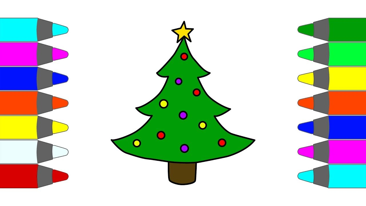 How to Draw Christmas Tree Coloring Pages for Kids | Children ...