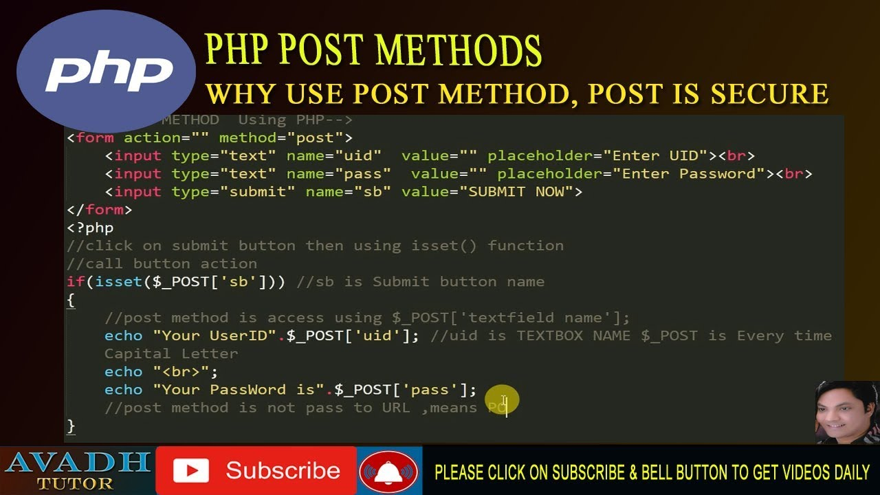 post method php   form with post method   why post method is secure   php  tutorial