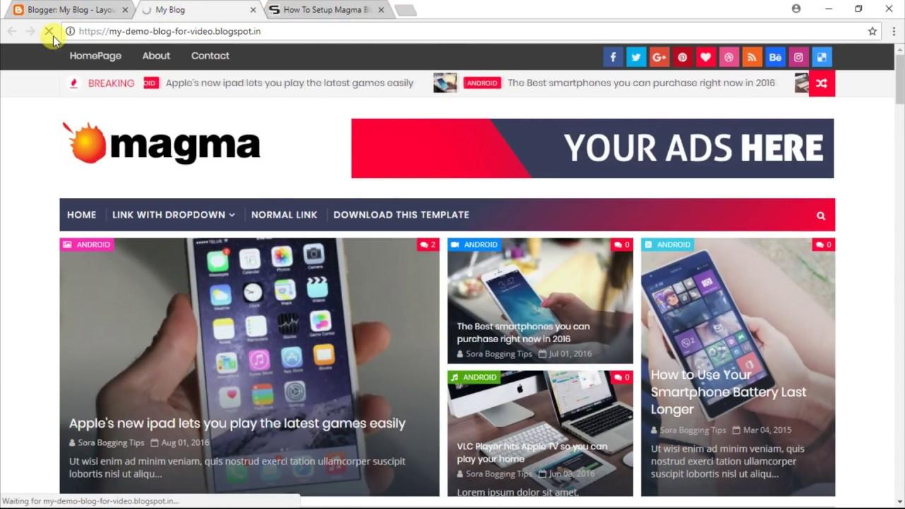 How To Setup Magma Blogger Template Templatesyard Youtube