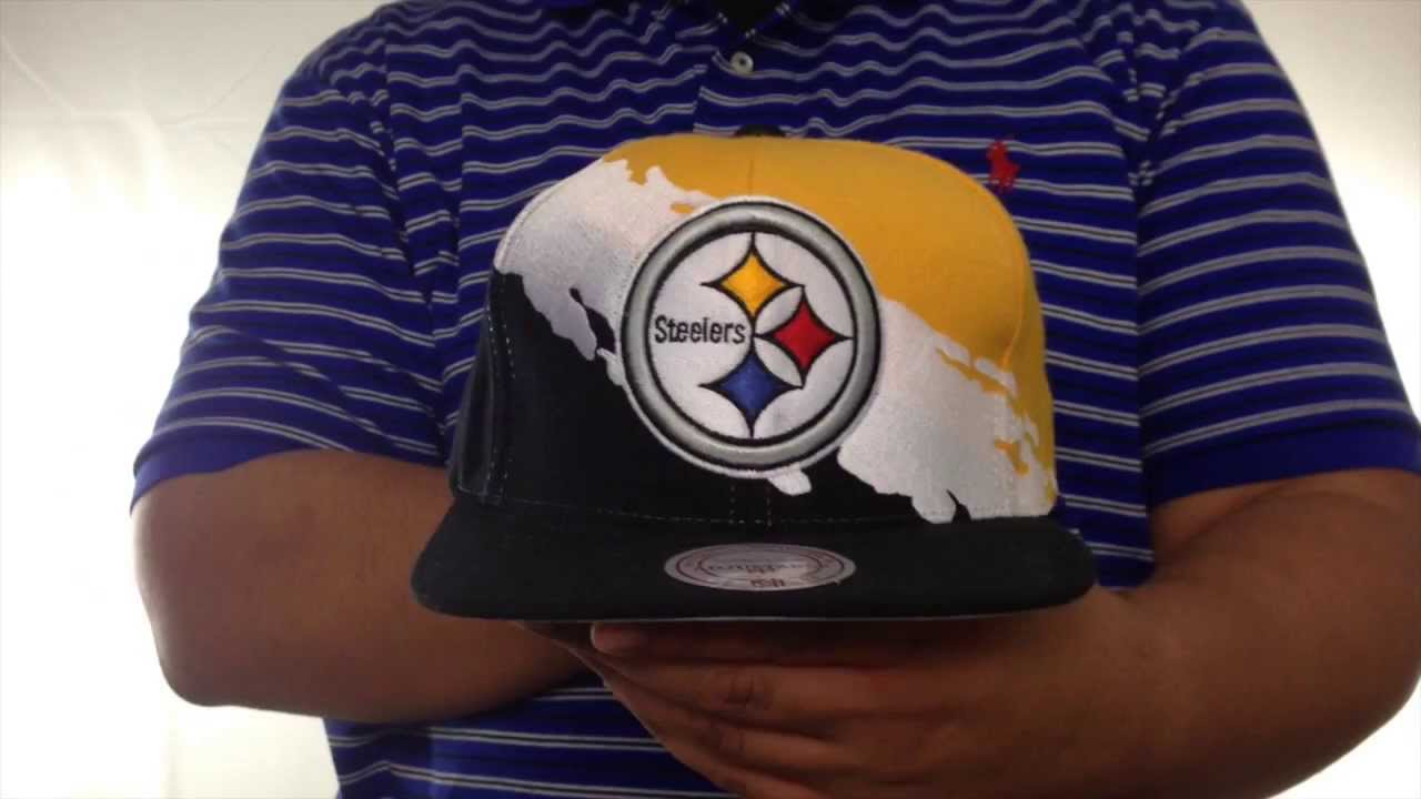 7d2046287 Steelers 'PAINTBRUSH SNAPBACK' Gold-White-Black Hat by Mitchell & Ness