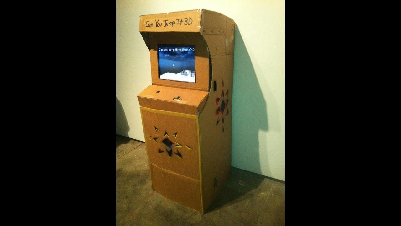 Cool homemade cardboard Arcade Cabinet! - YouTube