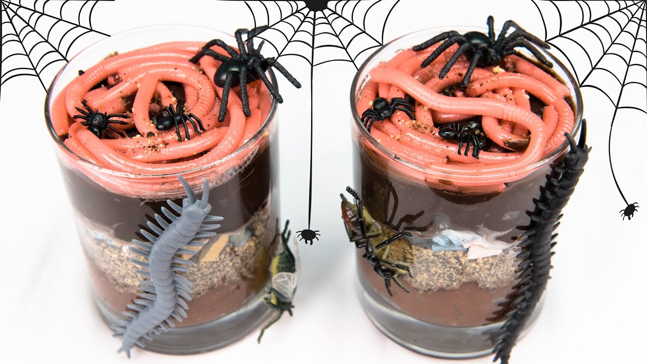 Dirt Cake Recipe Jello: Gummy Worms In Dirt Cups For Halloween From Cookies
