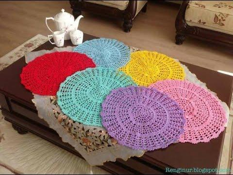 Individuales de mesa tejidos a crochet youtube - Ideas para hacer manteles ...