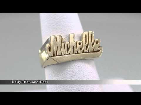 14K Yellow Gold Womens Name Ring