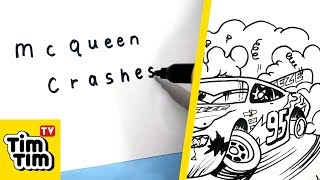 How to turn words McQUEEN CRASHES into a cartoon (CARS 3) - Learn drawing art on paper for kids