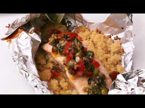Dean Edwards Creates Delicious BBQ Salmon Couscous Parcels