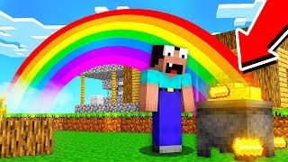 Minecraft NOOB vs PRO: NOOB FOUND TREASURE AT THE END OF RAINBOW IN VILLAGE! 100% TROLLING VILLAGER