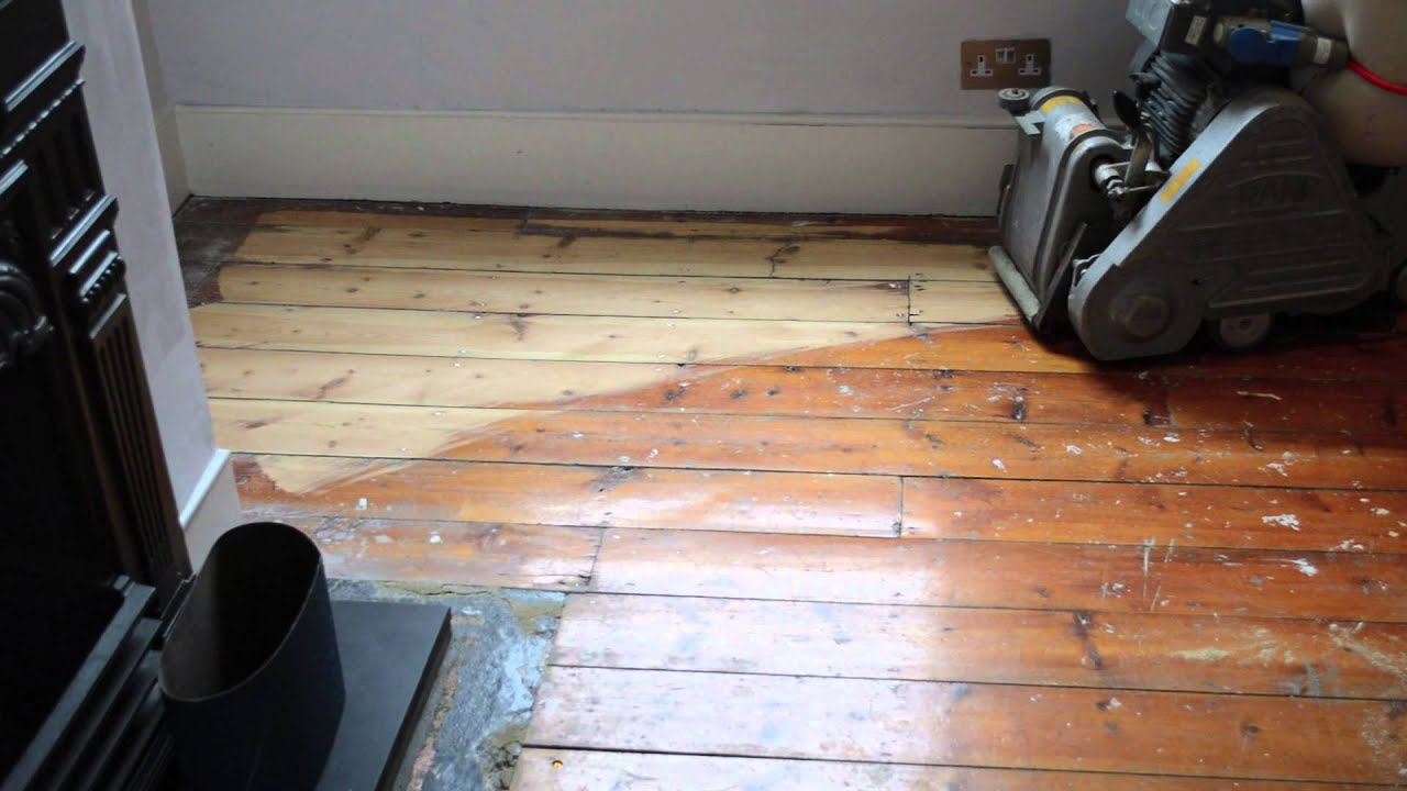 Floor sanding with Frank belt sander 24 grit belt  YouTube
