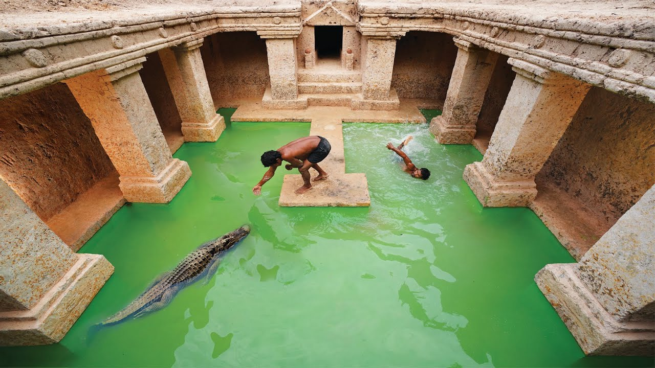 90 Days Built Underground Temple Tunnel With Swimming Pool & Rescued Crocodile And Feed