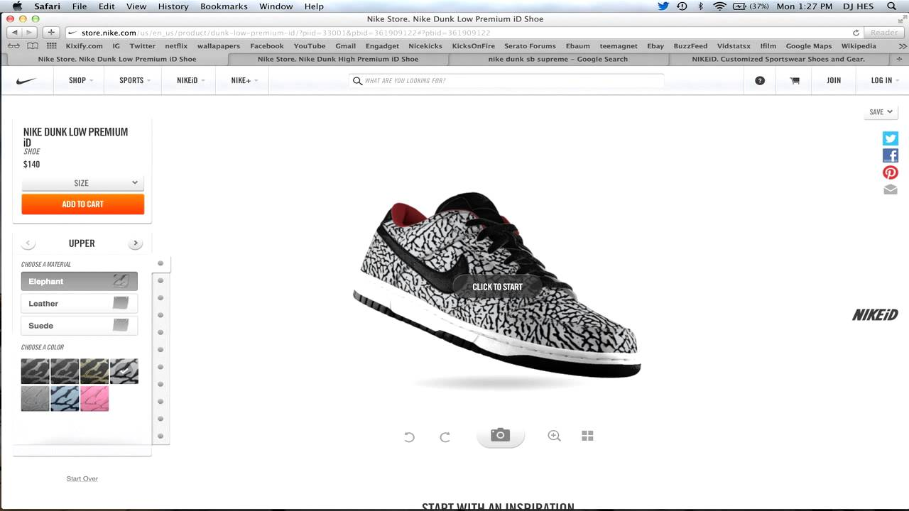 low priced 8e74e 93d27 Nike ID Elephant Print Now Available! Nike Dunk High   Low Air Max 1  Options Review.