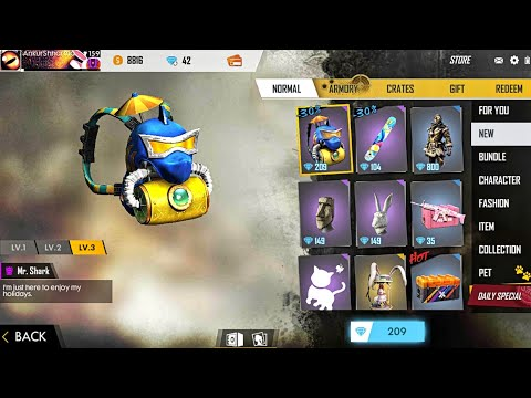 Mr. Shark Backpack and Songkran Surfboard || New Item in Free Fire Store