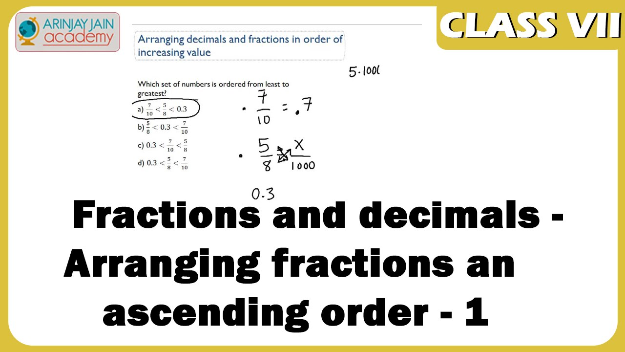 Arranging fractions in ascending order - 1 - Fractions and decimals - Maths  - ISCE,CBSE - NCERT