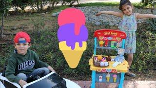 سوار ومتجر ايسكريم | Pretend Play with ICE CREAM Drive Thru Toy Store | pretend play ice cream shop
