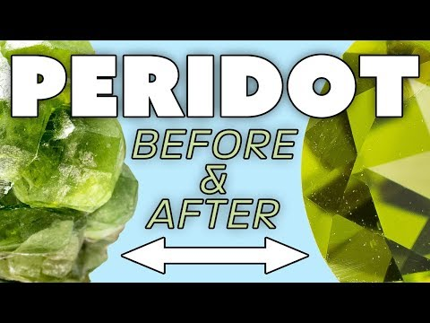 Peridot: Raw Gemstone Before And After