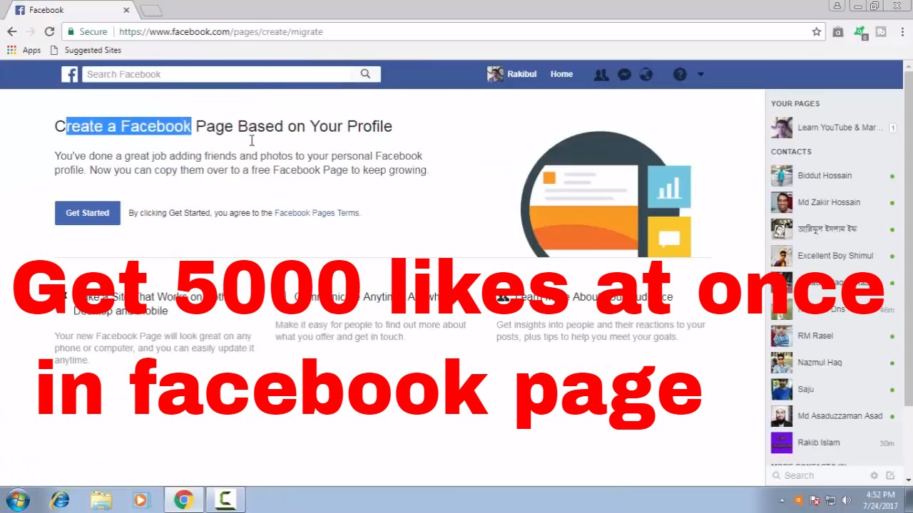 Get 5000 Auto Likes At Once By Convert Personal Account To A Facebook Page Fb Tips 97