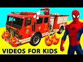 SPIDERMAN Cartoon and FIRE TRUCK Cars for Kids /w Nursery Rhymes Children's Songs
