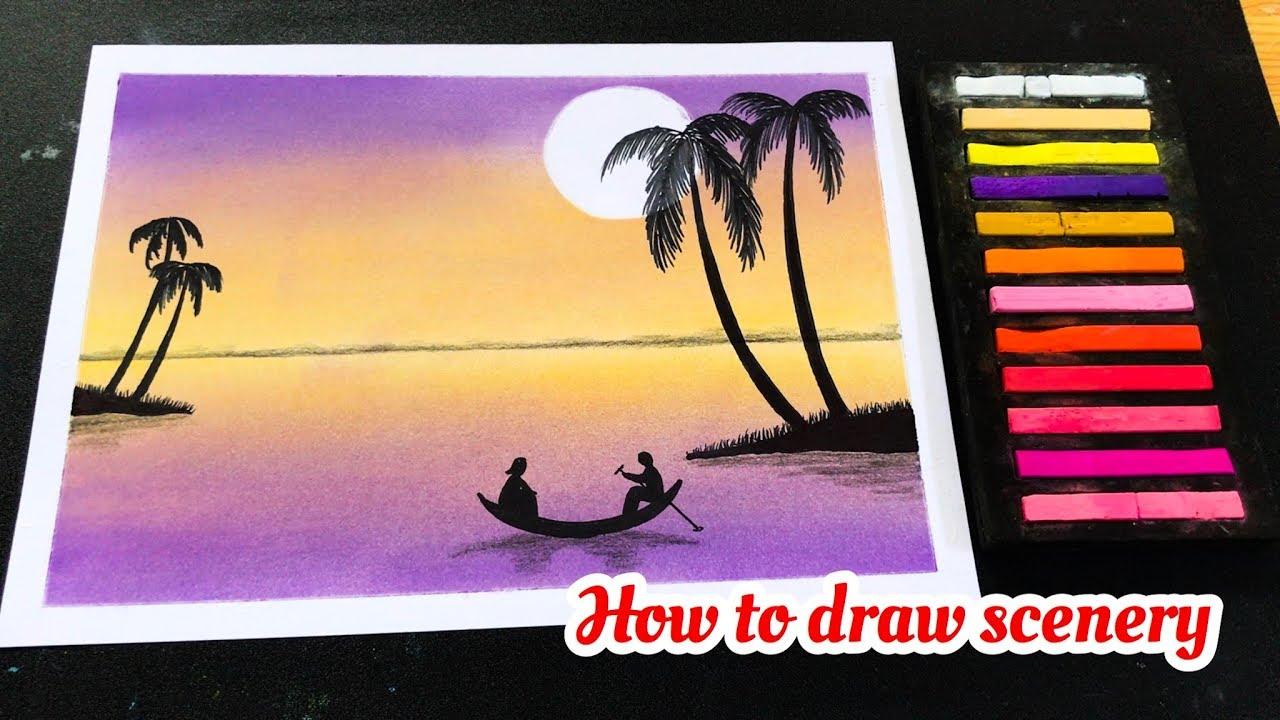 Cách vẽ tranh phong cảnh galaxy chiều hoàng hôn | how to draw scenery sunset