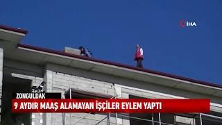Zonguldak'ın Çaycuma ilçesinde 9 aydır maaş alamayan işçiler eylem yaptı.