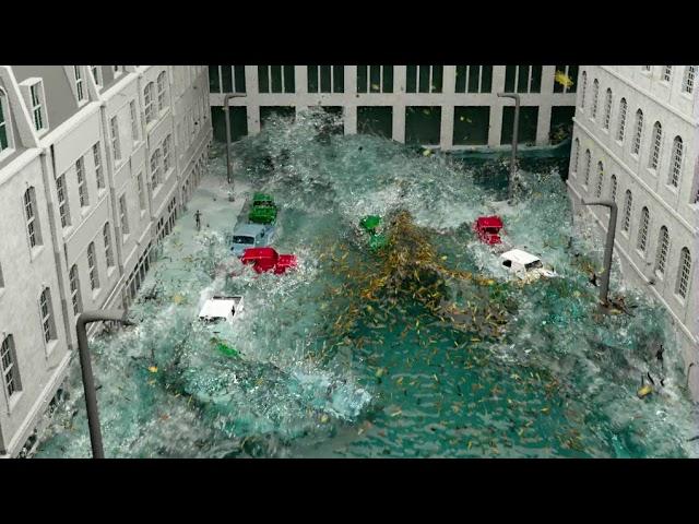 street flood, rag-dolls, deforming geo, 12000 floating bits.