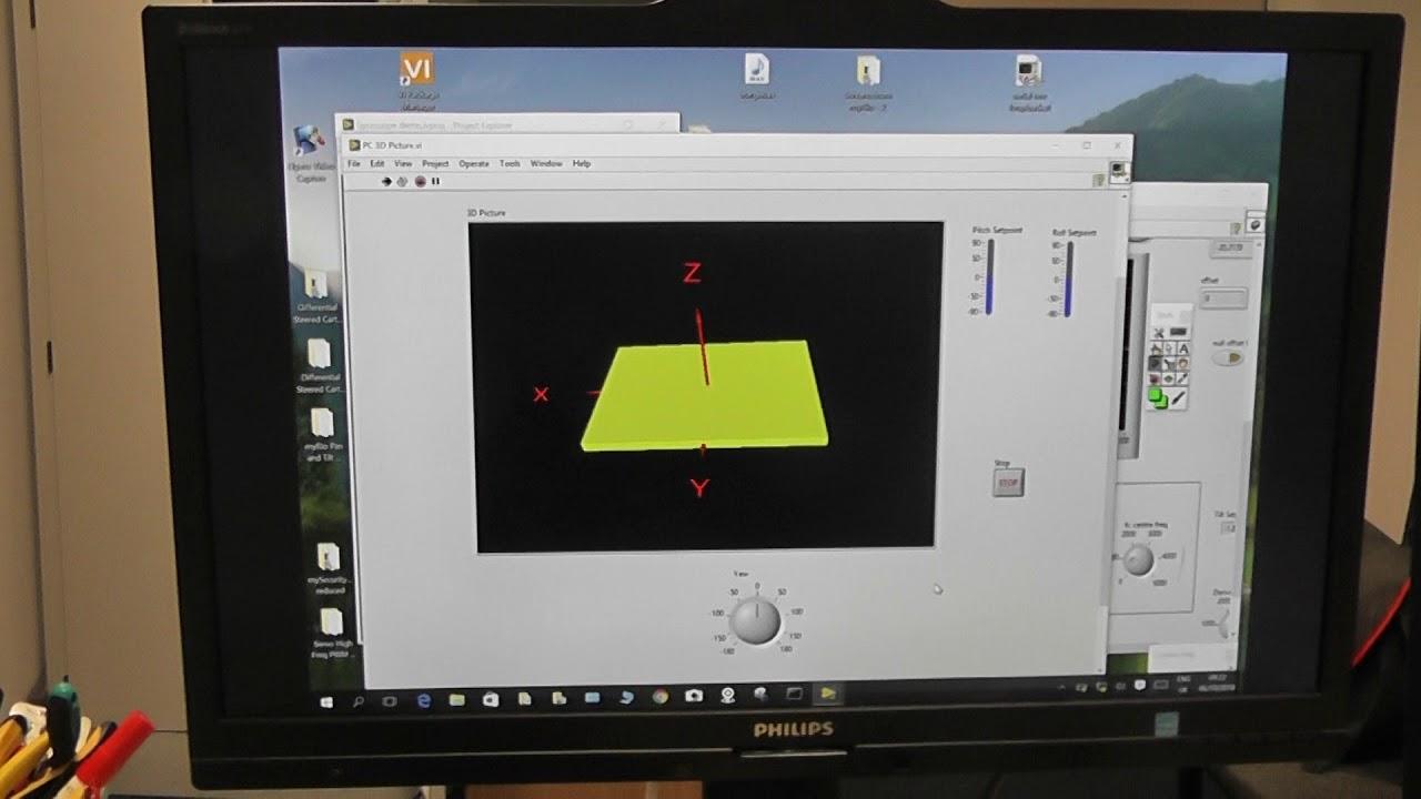 Kalman Filter stabilised camera platform with 3D graphics on PC myRio
