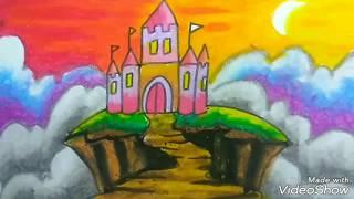 Gambar cover Mewarnai istana castle dengan crayon gradasi seperti juara lomba lukis