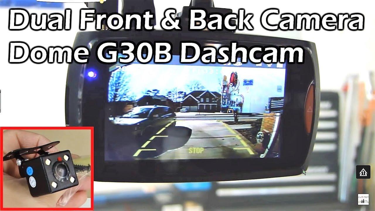 Dual camera car dash cam 2 7 1080p full hd dvr dome g30b youtube