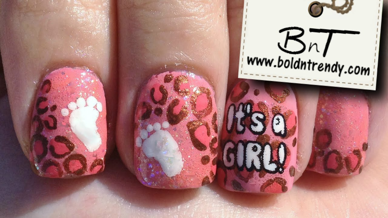 It\'s a Girl!! Pink leopard nail art desing - E031 - YouTube
