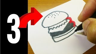Very Easy ! How to turn Numbers 1-5 into the cartoon FAST FOODS step by step - art on paper for kids
