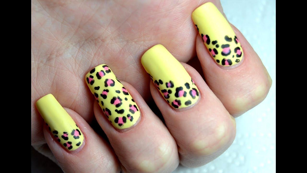 Summer matte leopard print easy nail art tutorial youtube prinsesfo Gallery