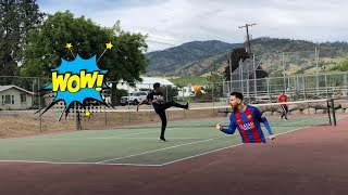 Soccer/Tennis Challenge VS My Little Brother Part 1
