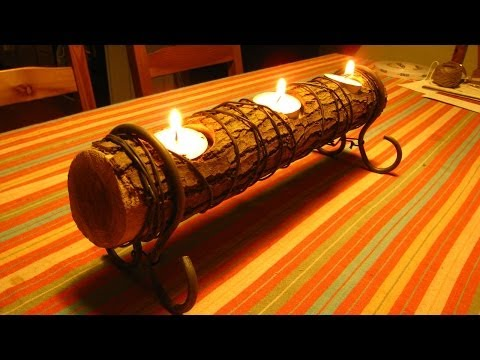 Easy Log Candle Holder A How To Video For A Quick Diy Project Iwoodit