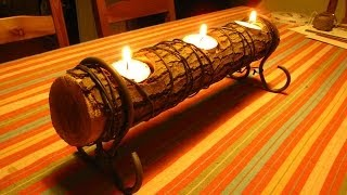 Easy Log Candle Holder, A How To Video, A quick DIY project