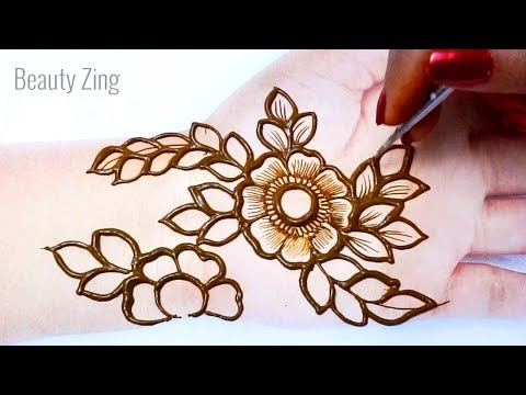 फ्लावर मेहँदी डिज़ाइन लगाना सीखे - Easy Shaded Mehndi Design of Flowers | Front Hand Stylish Mehndi