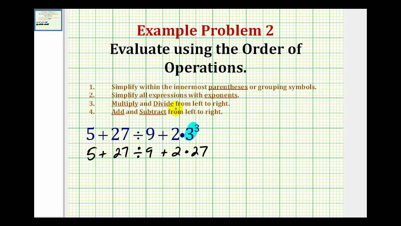 Example 2 evaluate an expression using the order of operation example 2 evaluate an expression using the order of operation biocorpaavc Choice Image