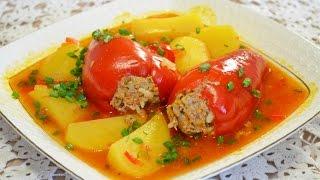Домашние видео-рецепты - тушёный картофель с болгарским перцем и фаршем в мультиварке