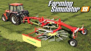 Zgrabianie i belowanie siana - Farming Simulator 19 | #8