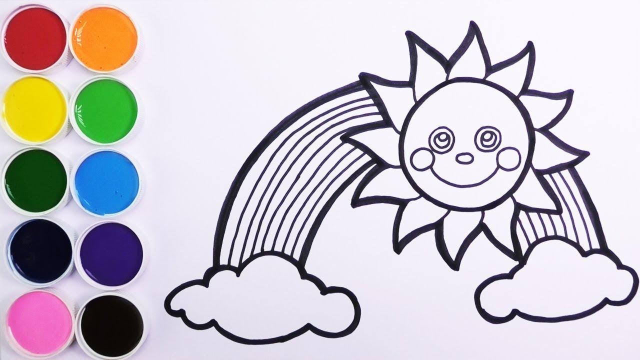 Como Dibujar Y Colorear Sol Y Arco Iris Dibujos Para Niños Learn Colors Funkeep