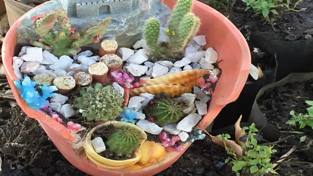 Maceta rota en forma de castillo para suculentas sky - Composiciones de cactus ...