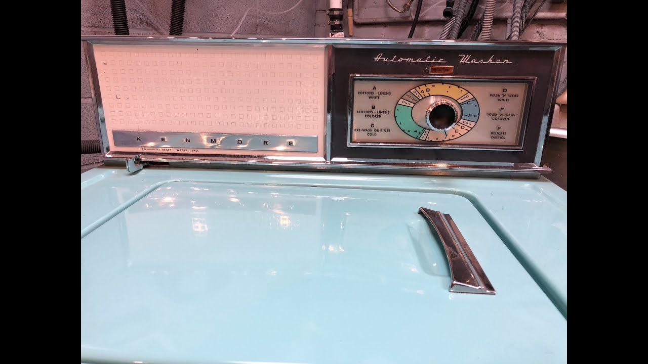 Vintage 1964 Turqouise Kenmore Washer Full Wash Load Of
