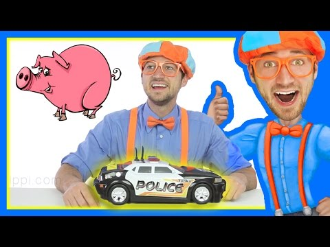 Thumbnail: Learn to spell Police Car with Blippi Toys