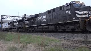 NS #7538 & NS 1162 pass stopped coal train @ Rochester, PA with van train 11/17/18